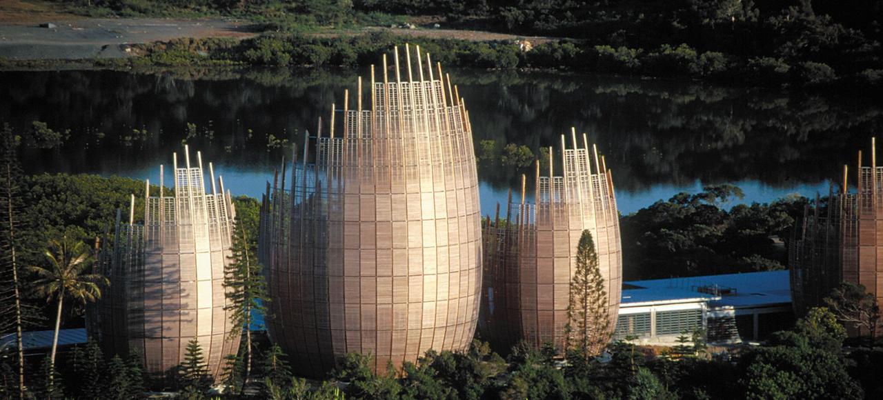 Le Centre Culturel Tjibaou, pensé par Renzo Piano à Nouméa, en Nouvelle-Calédonie.
