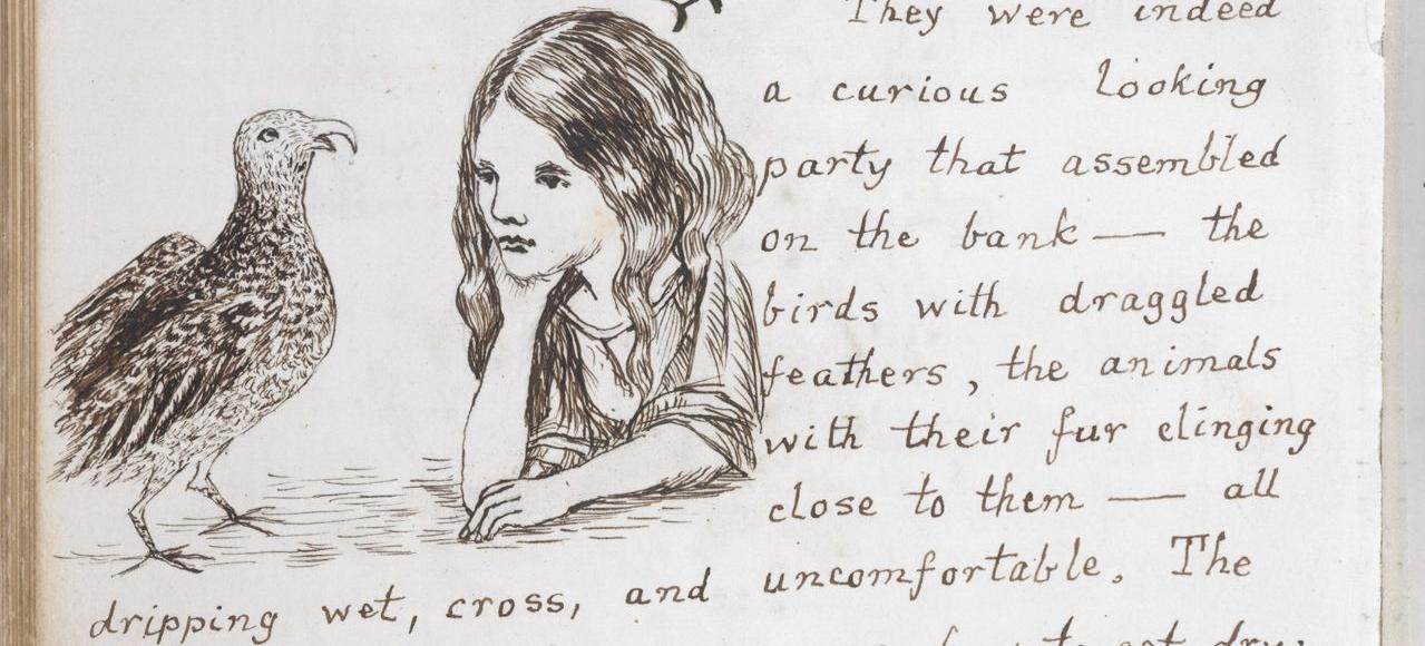 Une page du manuscrit original d' <i>Alice's Adventures Under Ground (in Wonderland)</i>, 1862-1864, illustré par Lewis Carroll