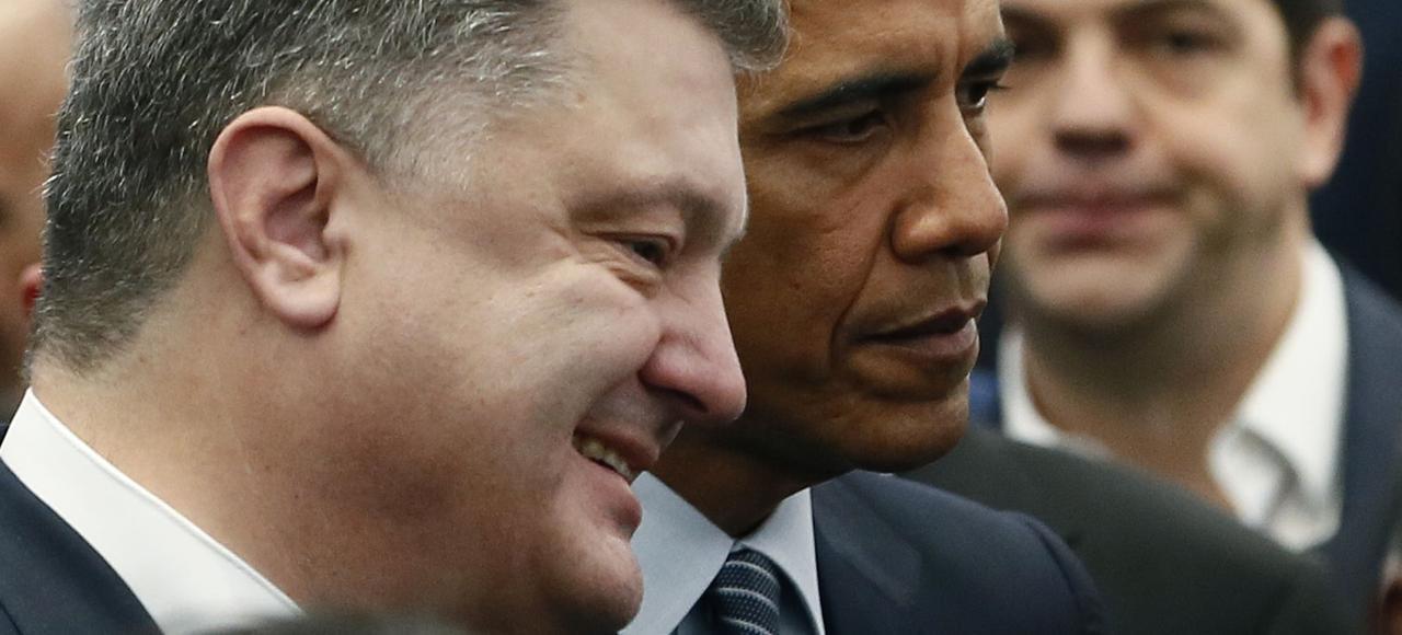 Petro Porochenko en compagnie de Barack Obama lors de l'ouverture de la COP21 à Paris en début de semaine.