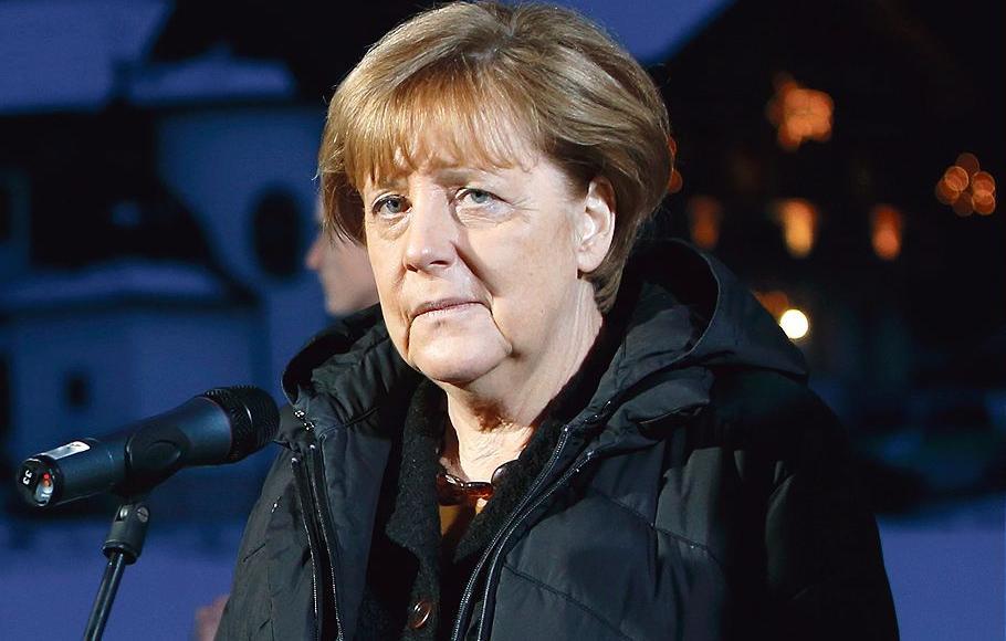 Angela Merkel lors d'un meeting près de Munich le 6 janvier.