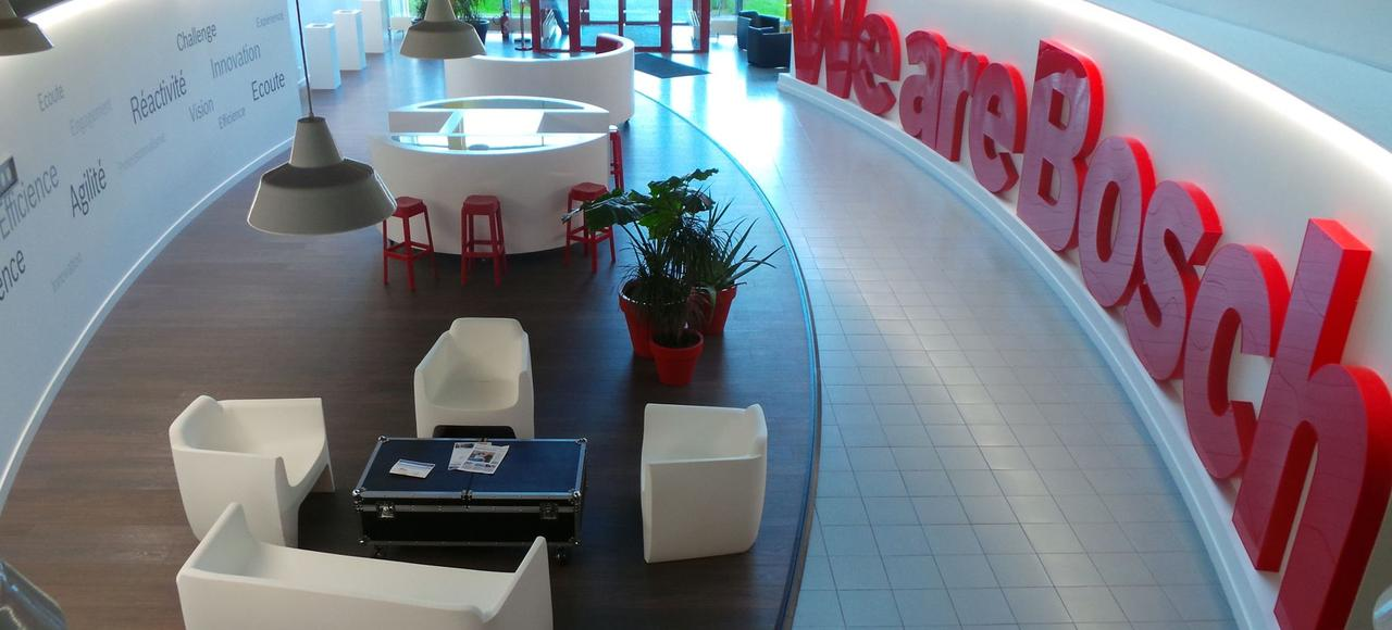 Le showroom de l'usine Bosch à Mondeville dans le Calvados. Le groupe allemand partage son site normand avec deux start-up.