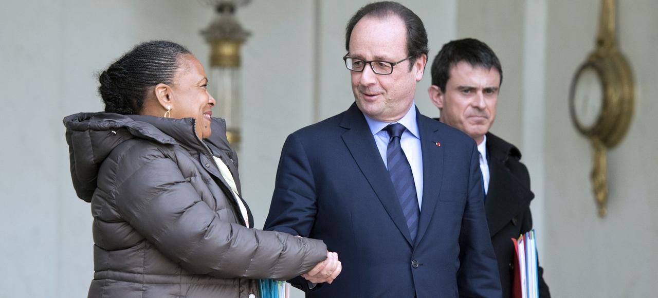 Christiane Taubira, François Hollande et Manuel Valls, à l'Élysée le 11 mars 2015, à la sortie du Conseil des ministres.