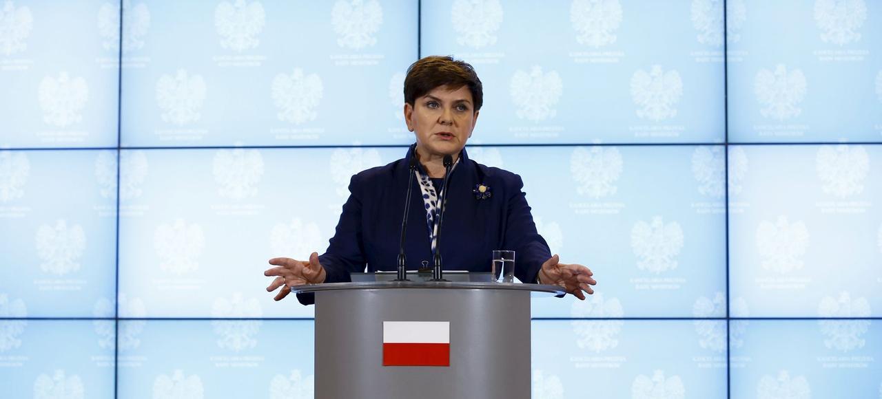 La première ministre de la Pologne, Beata Szydlo, lors d'une conférence de presse, mercredi, à Varsovie.