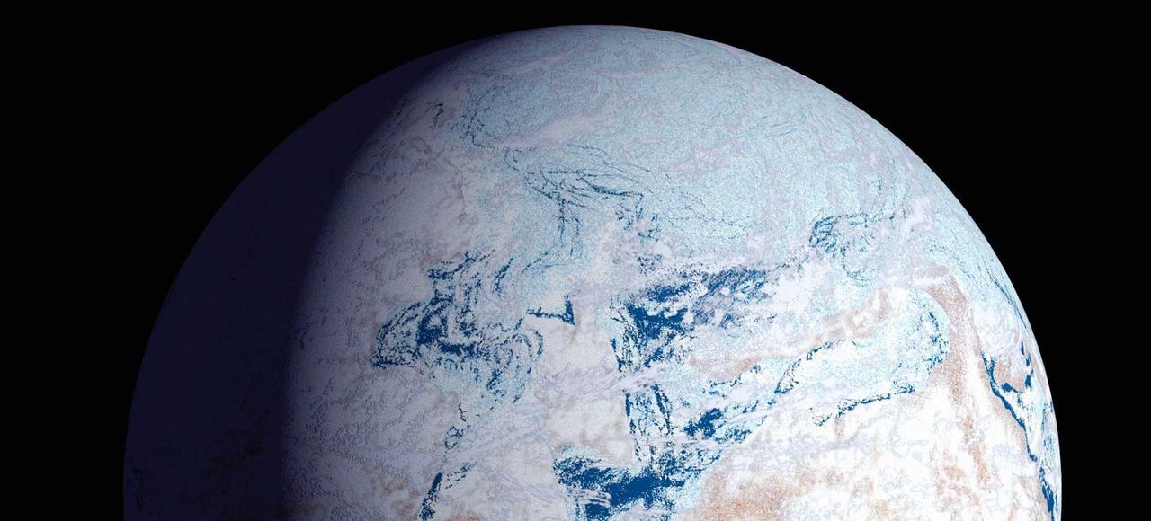 Vue artistique de la Terre sous la glace il y a 590 millions d'années.