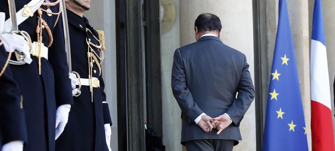 François Hollande, sur le perron de l'Élysée, le 20 janvier.
