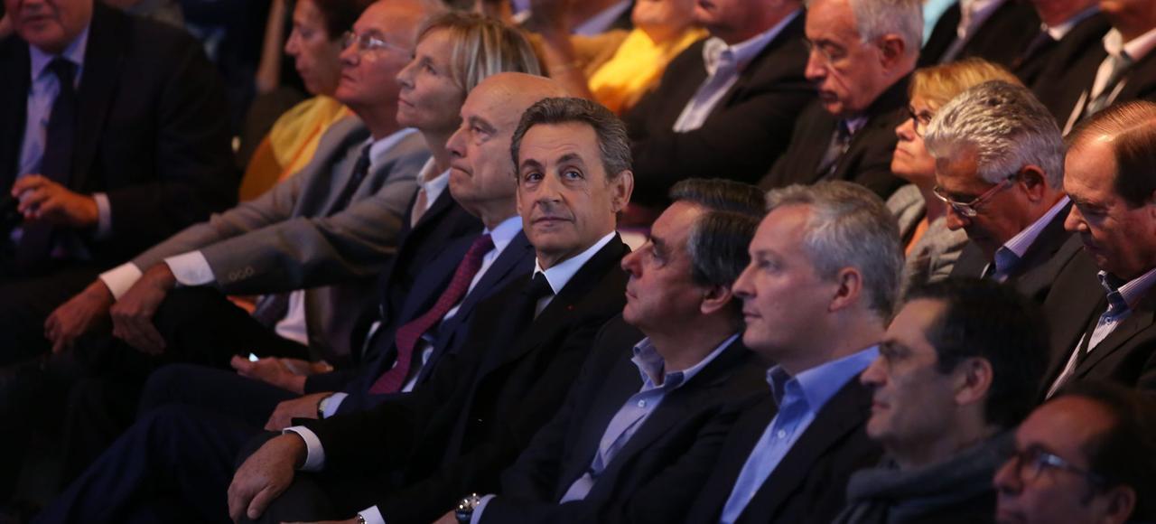 Les principaux candidats, déclarés ou supposés, à la primaire de la droite et du centre, Alain Juppé, Nicolas Sarkozy, François Fillon et Bruno Le Maire, lors du meeting de soutien à Valérie Pécresse, à Nogent-sur-Marne, en septembre 2015.