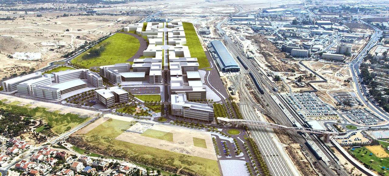 Une vue d'artiste de ce que sera CyberSpark, à Beersheba, une fois le programme immobilier terminé. À l'heure actuelle, seuls deux bâtiments du complexe high-tech sont opérationnels.