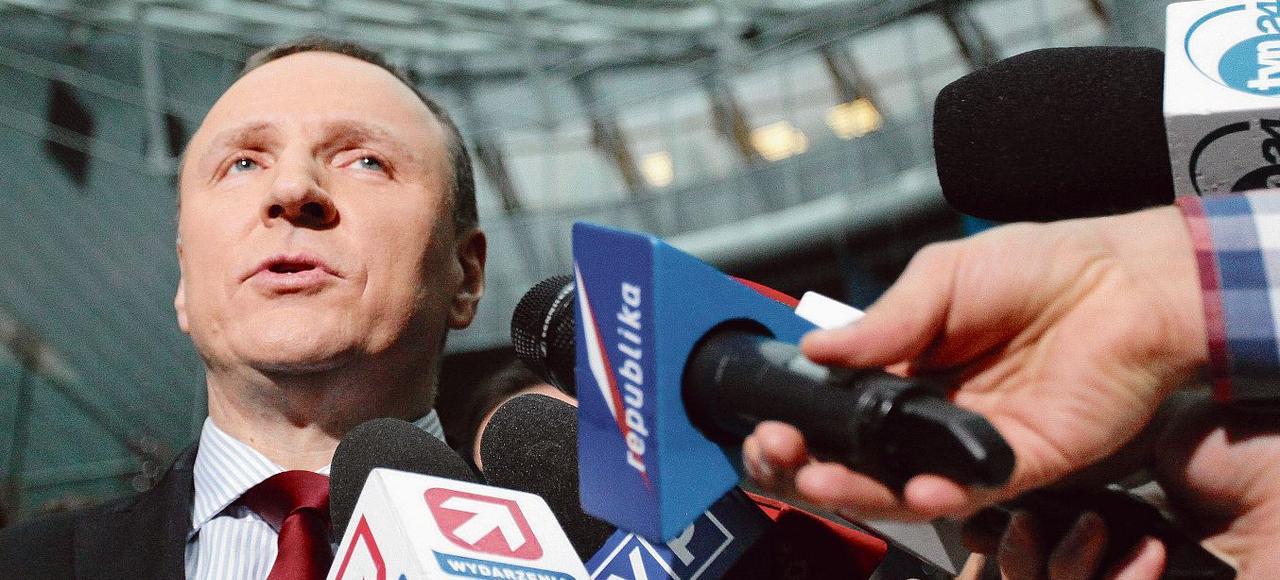 Jacek Kurski, lors d'une déclaration à la presse, en janvier, à Varsovie.