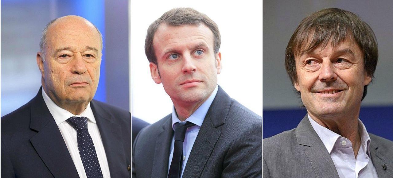 Jean-Michel Baylet, Emmanuel Macron et Nicolas Hulot