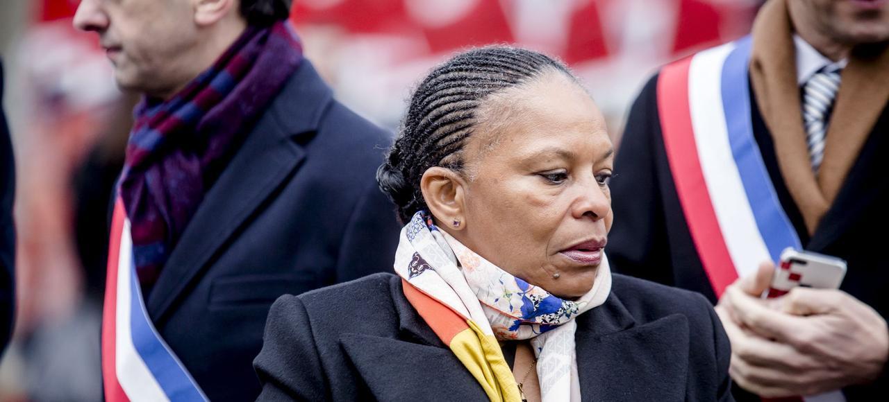 Christiane Taubira lors de l'hommage aux victimes des attentats terroristes de 2015, le 9 janvier, aux Invalides.