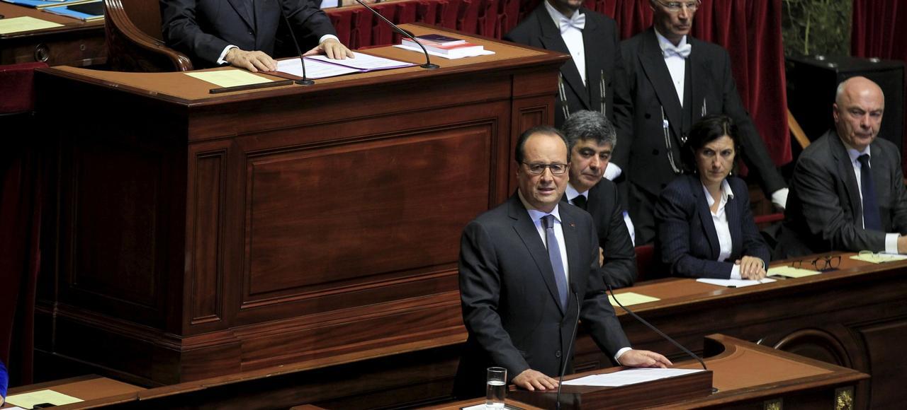 François Hollande devant le Congrès réuni à Versailles, le16 novembre 2015.