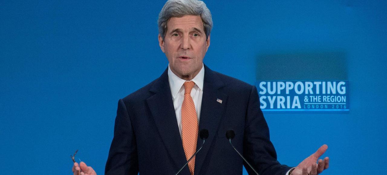 Le secrétaire d'État John Kerry, à Londres, mercredi.