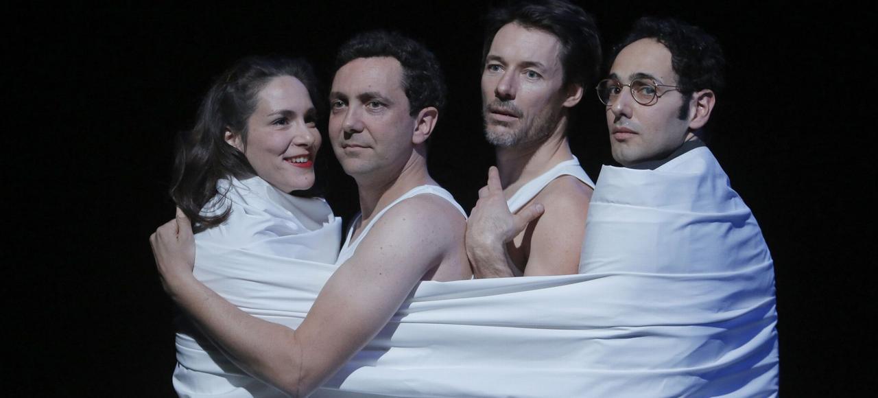 Anne Cressent, Fabrice Cals, Stéphane Brel et Julien Saada dans <i>Kvetch</i> de Steven Berkoff.