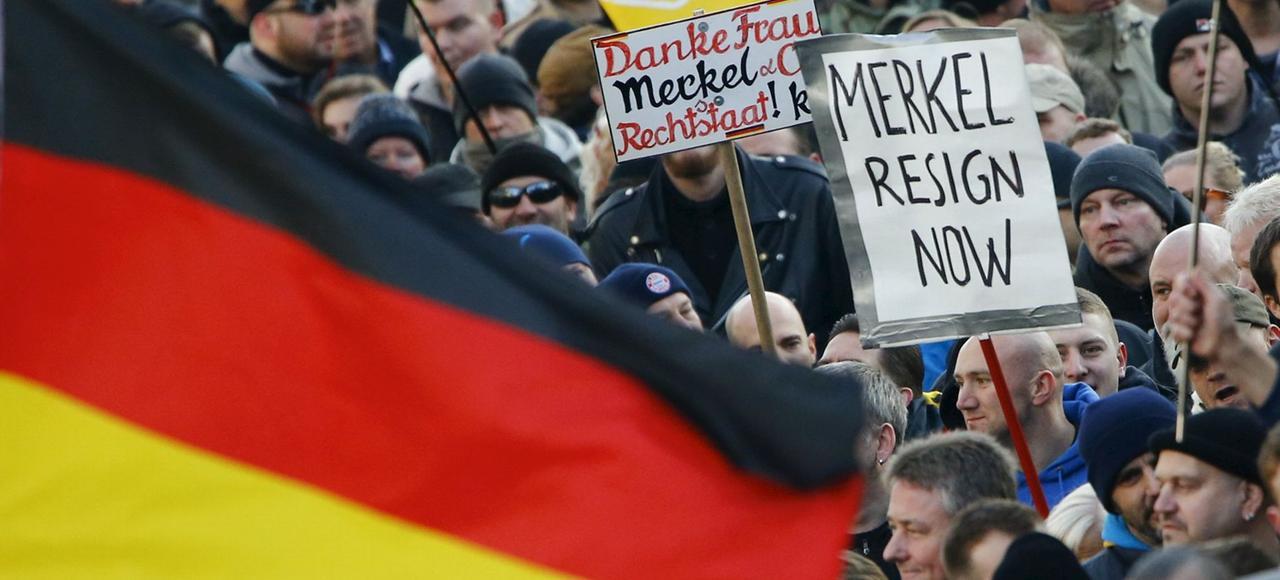 Manifestation du mouvement anti immigration Pegida, le 9 janvier à Cologne.