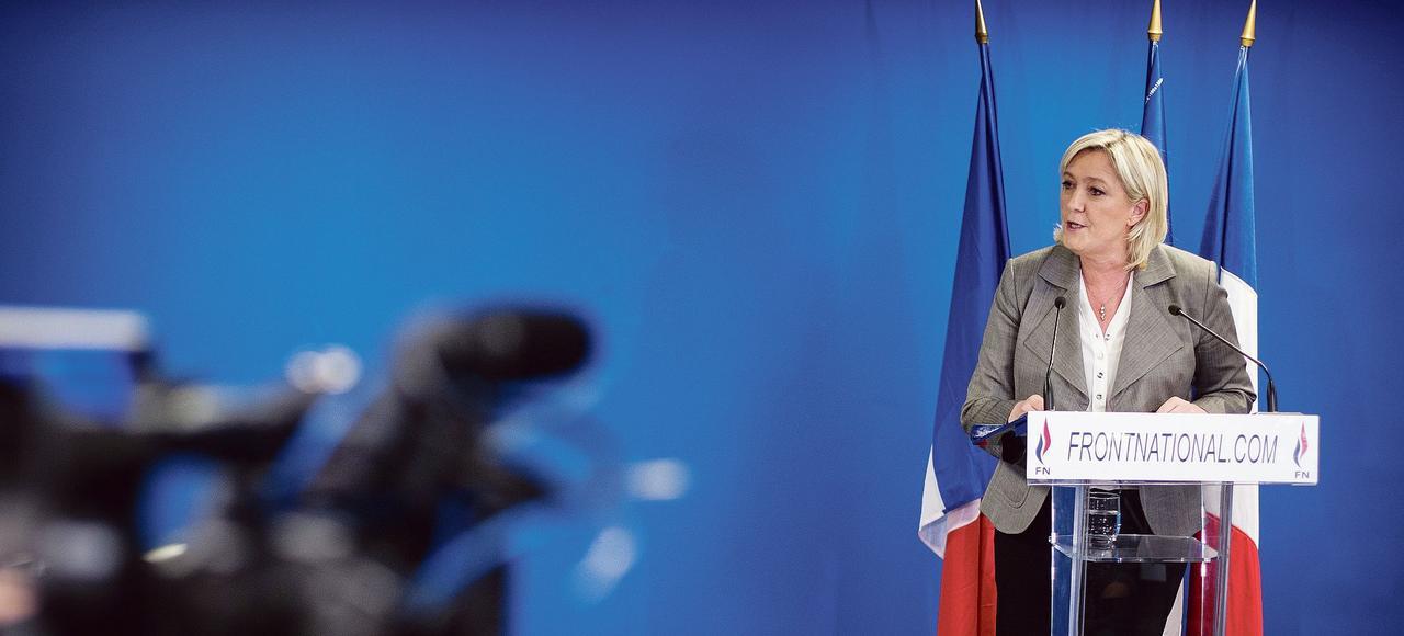 Marine Le Pen, présidente du Front national, à son QG de Nanterre.