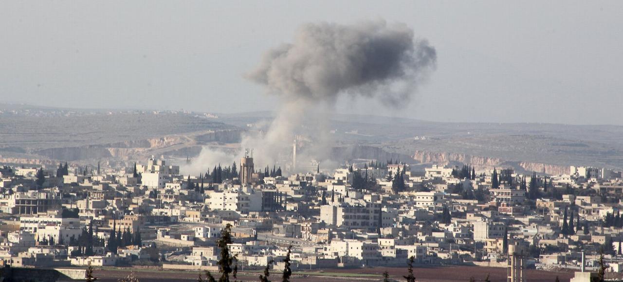 La ville d'Anadan, au nord d'Alep, après un raid aérien du régime, le 3 février en Syrie.