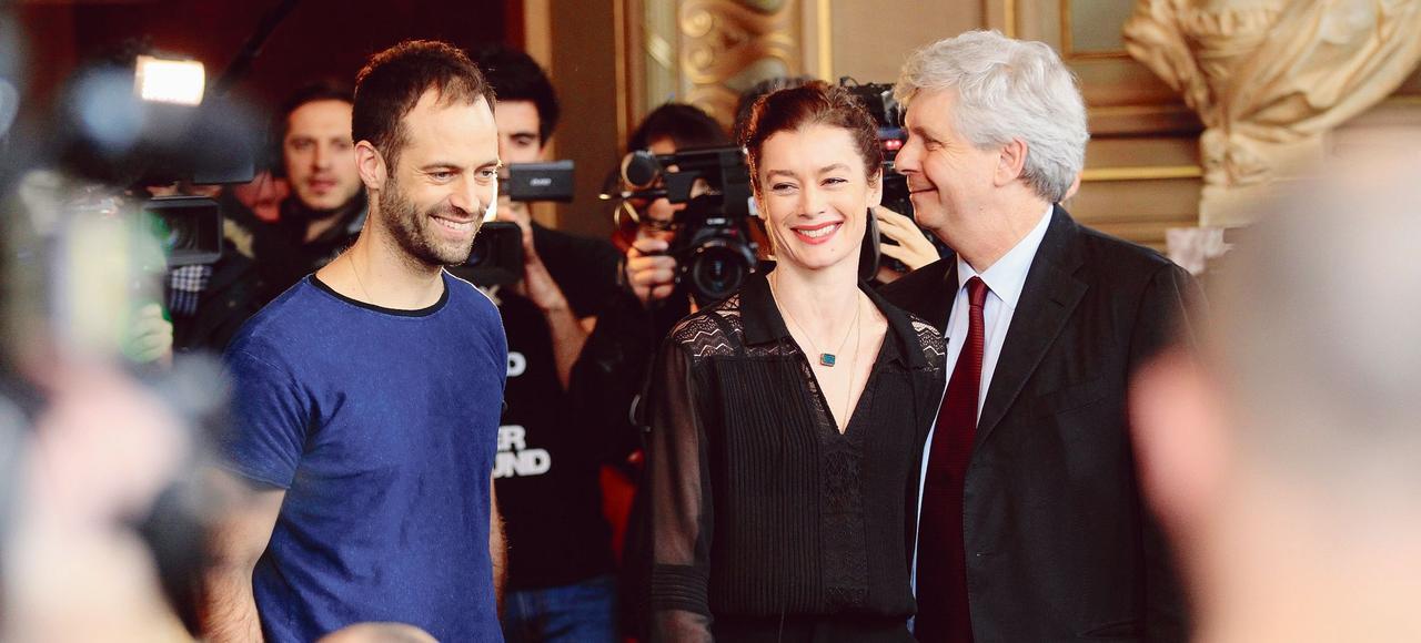 Benjamin Millepied, Aurélie Dupont et Stéphane Lissner, directeur de l'Opéra (de gauche à droite), jeudi à Paris.