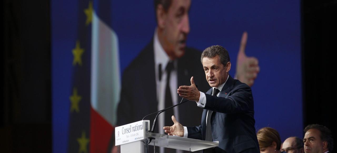 Nicolas Sarkozy, dimanche, lors de son discours de clôture du conseil national des Républicains, à Paris.