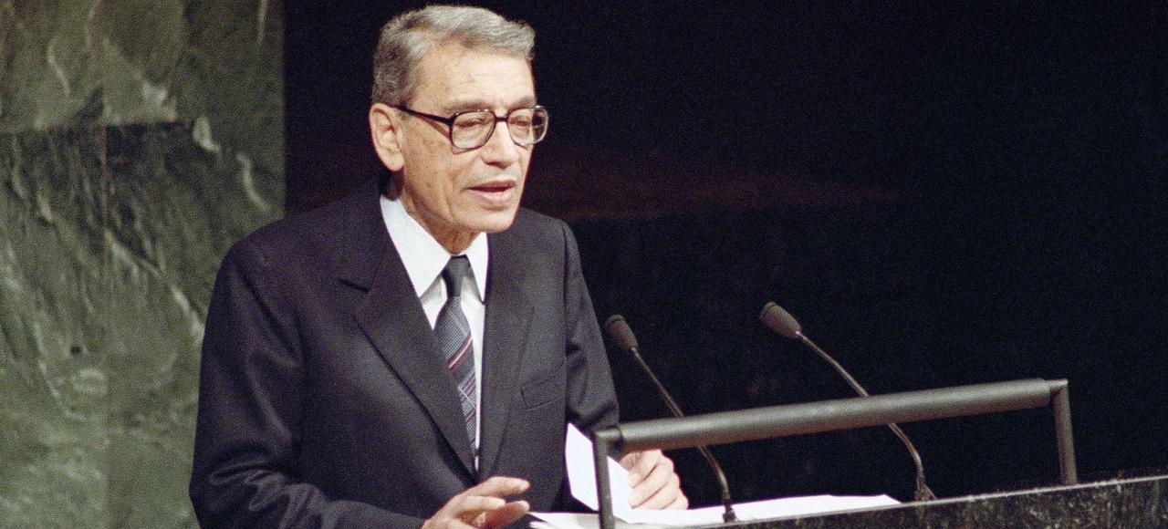 Boutros Boutros-Ghali à l'ONU en 1991.