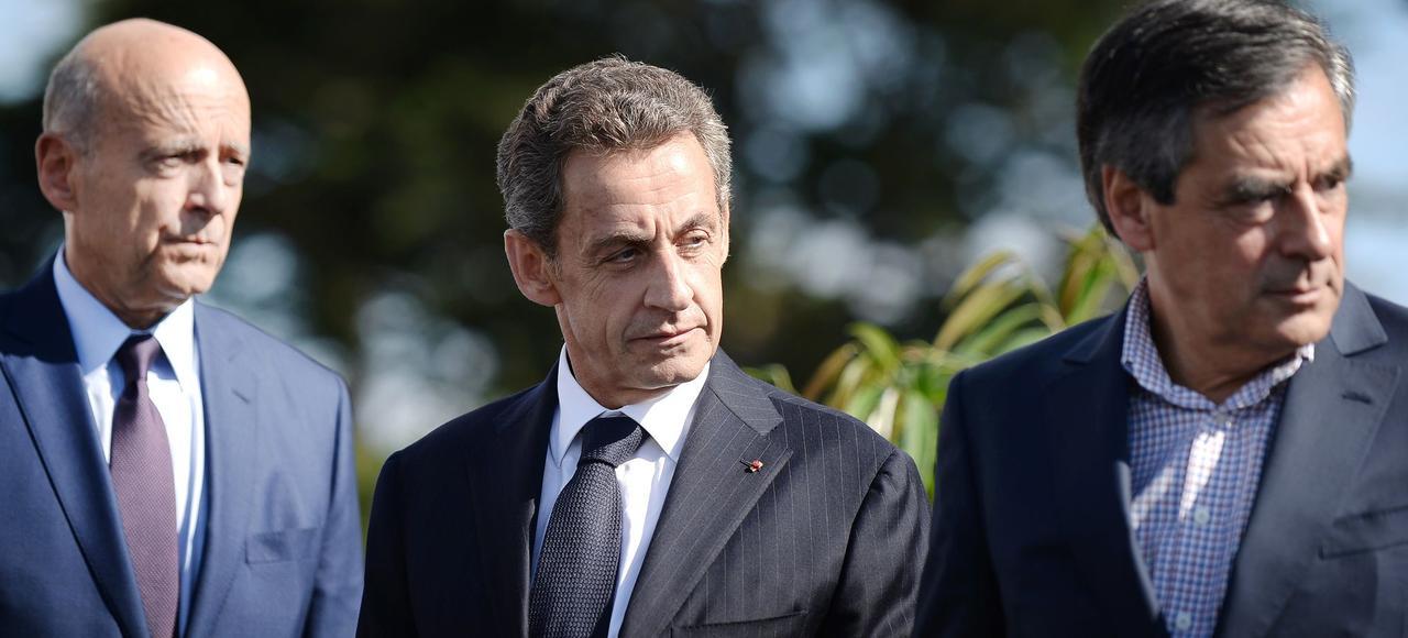 Alain Juppé, Nicolas Sarkozy et François Fillon, lors de l'université des Républicains, en septembre 2015 à La Baule.