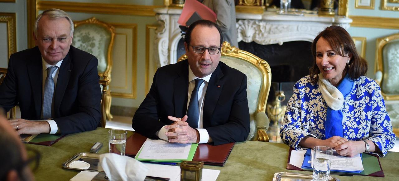 Jean-Marc Ayrault, François Hollande et Ségolène Royal, le 17 février à l'Élysée.