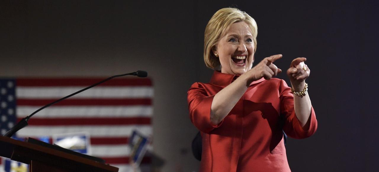 Hillary Clinton jubile après son succès dans les caucus du Nevada, samedi à Las Vegas.