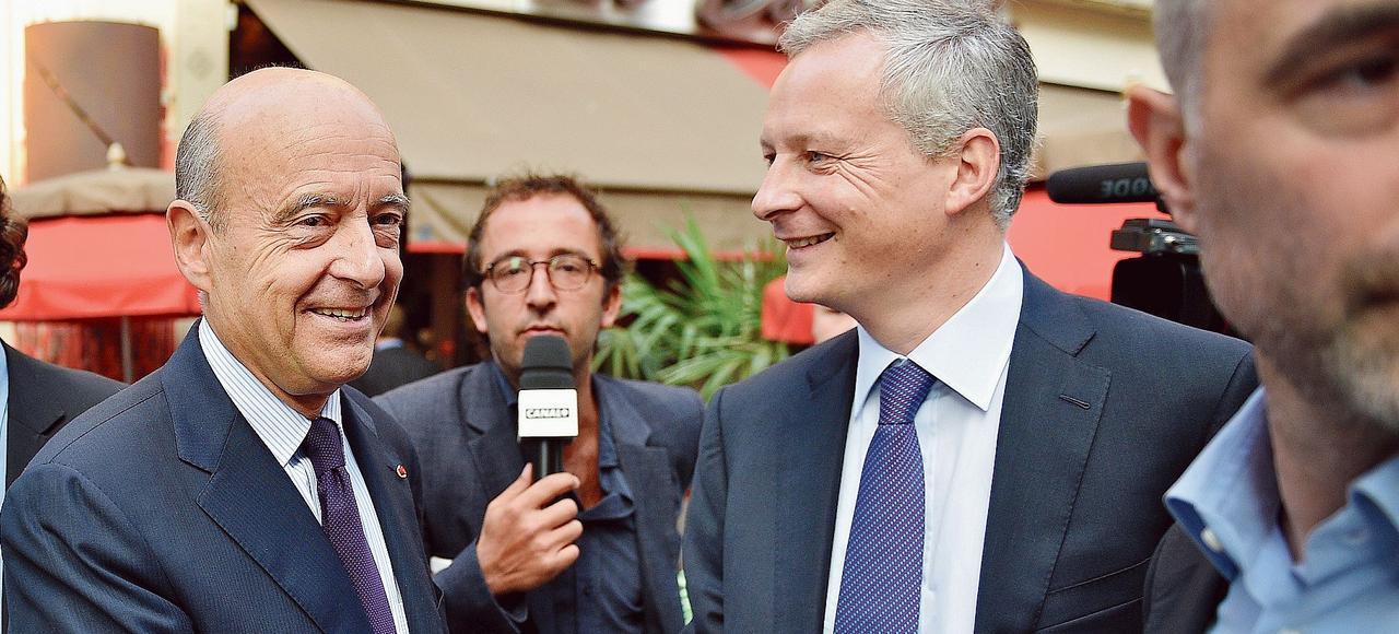 Les partisans de Bruno Le Maire parient sur un second tour de la primaire à droiteentre leur champion et Alain Juppé, ici ensemble à Paris, en 2014.