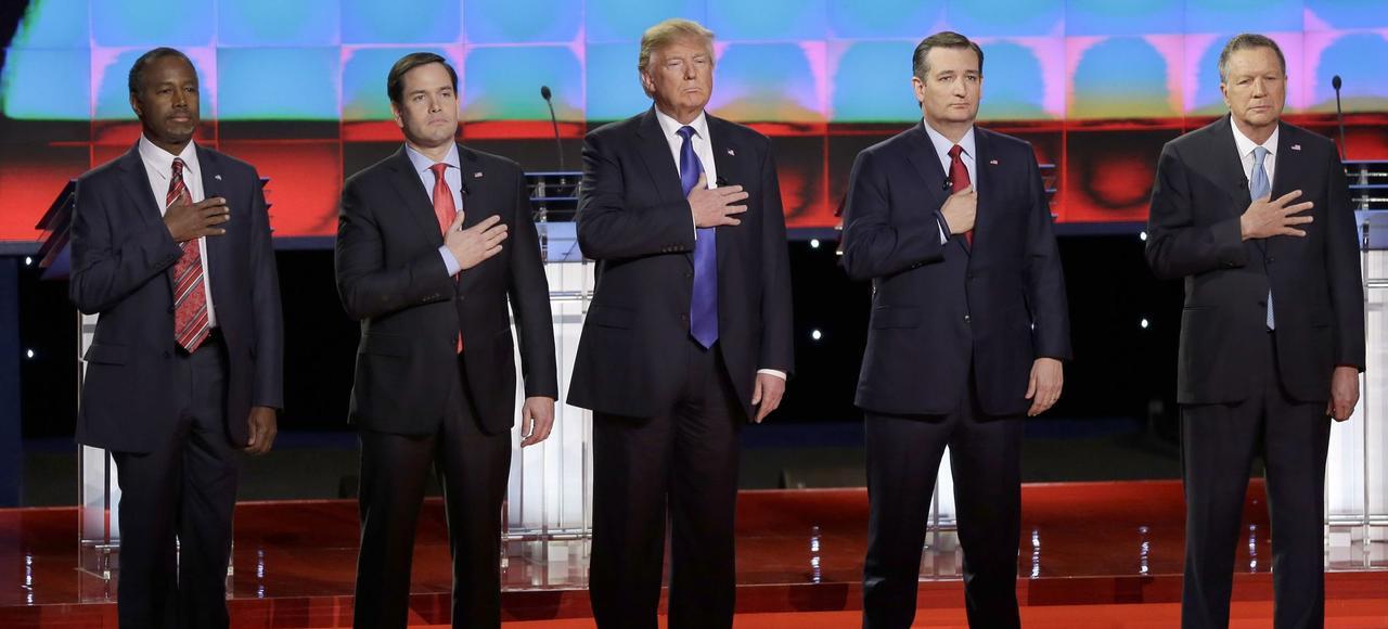 Ben Carson, Marco Rubio, Donald Trump, Ted Cruz et John Kasich, avant un débat télévisé, fin février.