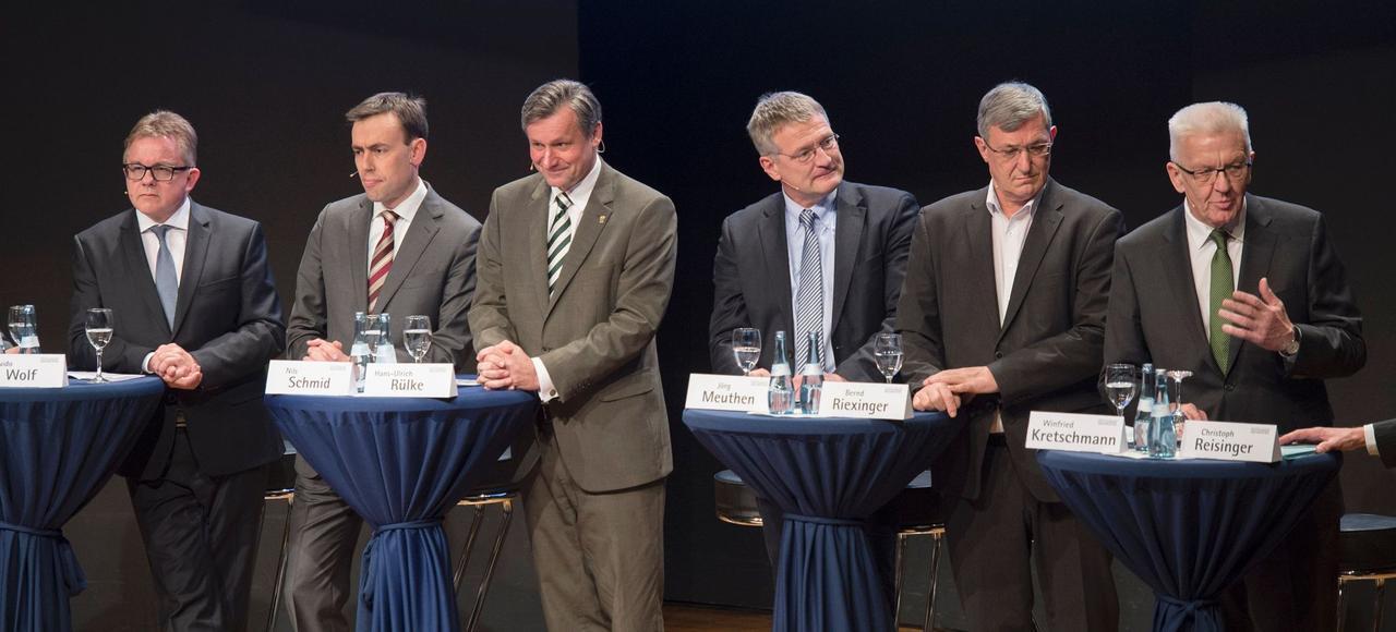 Les candidats aux élections en Bade-Wurtemberg pendant un débat à Stuttgart la semaine dernière.