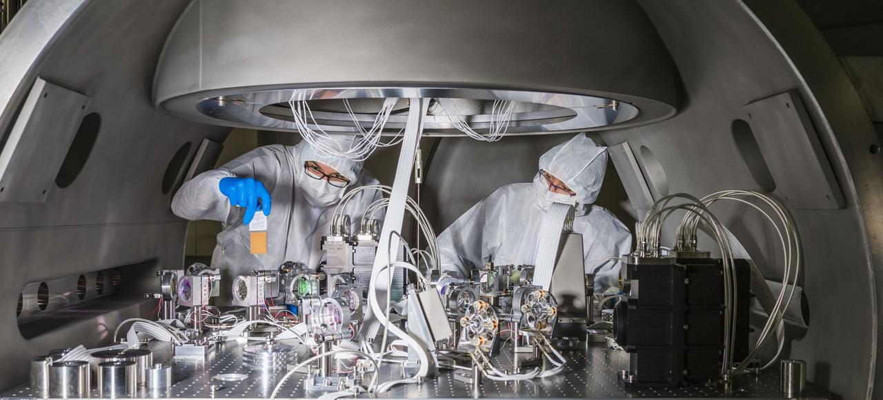 Au cœur du détecteur d'ondes gravitationnelles Virgo, installé près de Pise, en Italie.