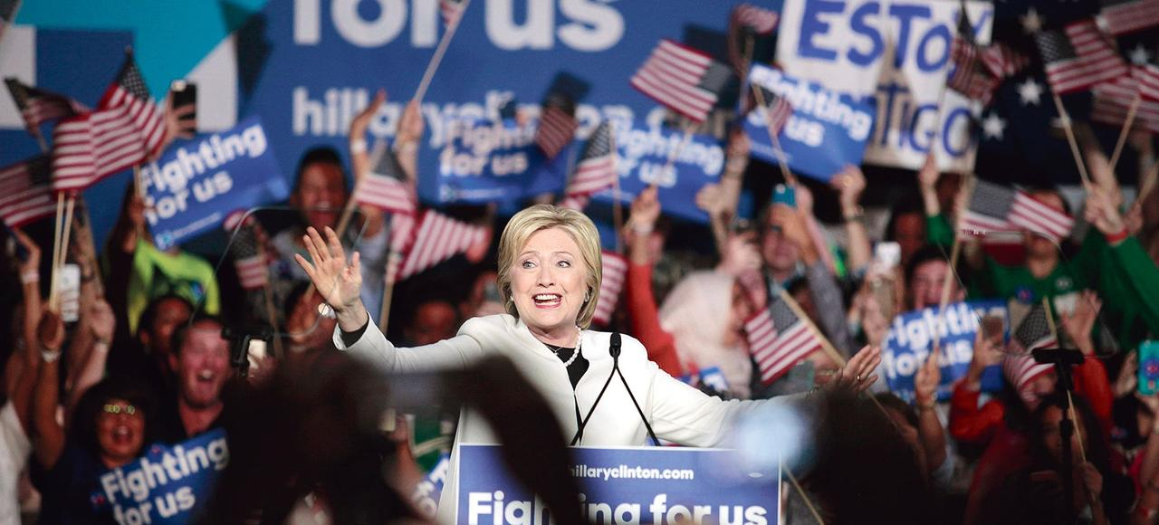 Hillary Clinton pendant un meeting électoral, mardi à Miami, en Floride.