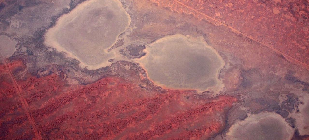 Photo aérienne de lacs asséchés en Australie en décembre 2015.