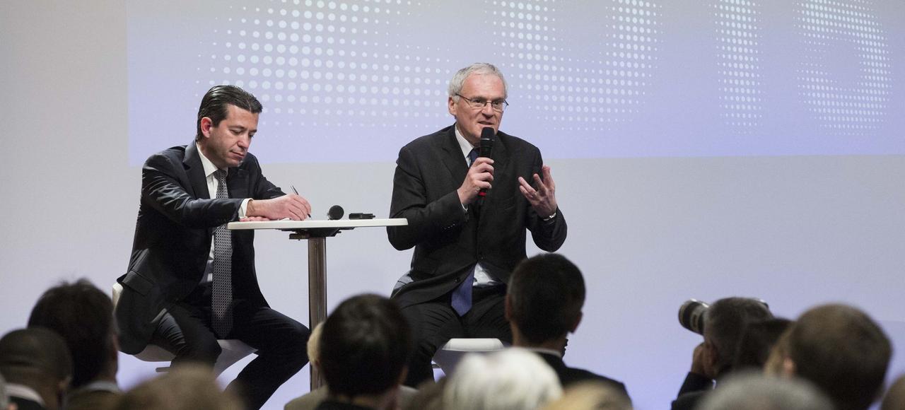 Jean-Bernard Lévy, PDG d'EDF <i>(à droite)</i>, et Thomas Piquemal, directeur financier, ont présenté les résultats du groupe pour 2015, le 16 février.