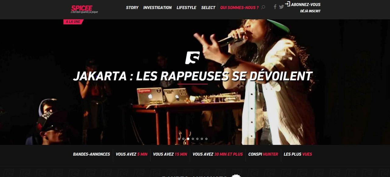 Capture d'écran de la plateforme de reportages vidéos Spicee.