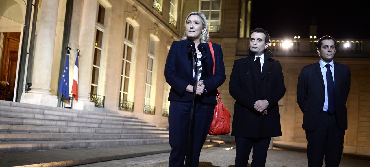 Marine Le Pen, Florian Philippot et Nicolas Bay après une entrevue avec François Hollande, le 15 novembre 2015.