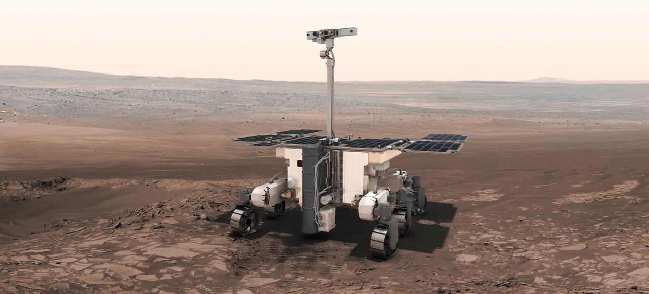 Vue d'artiste du rover ExoMars sur la planète rouge.