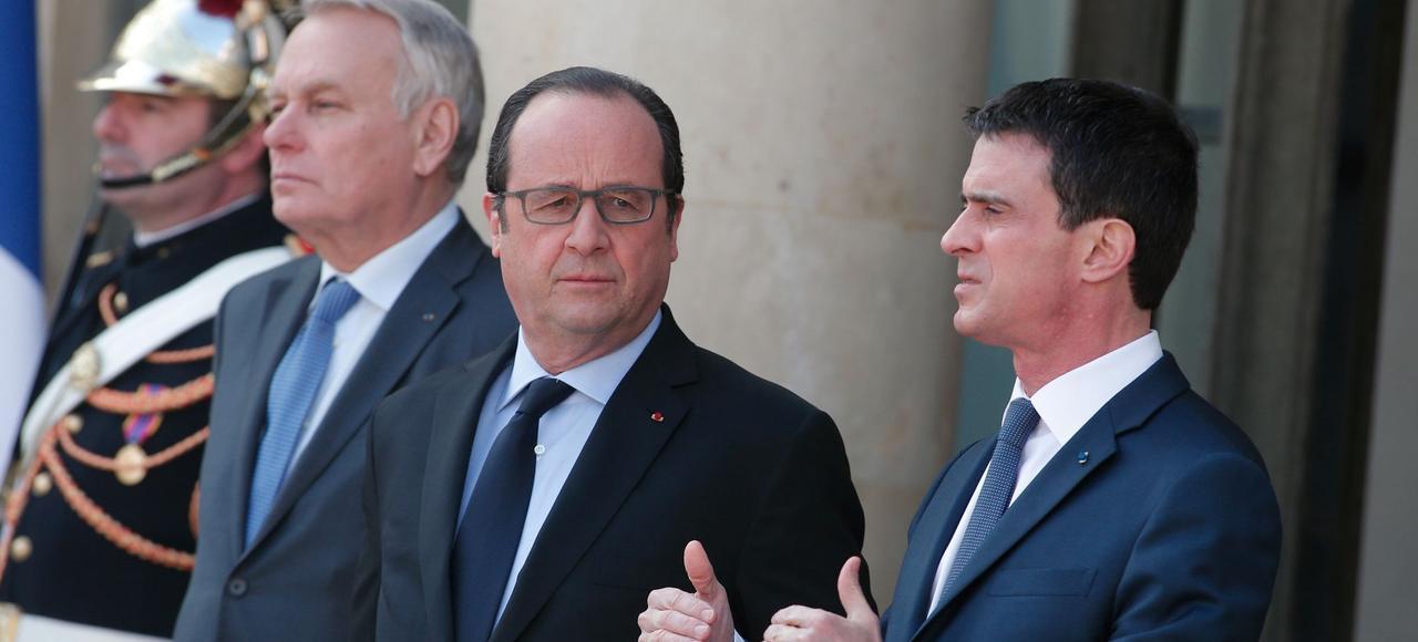 Jean-Marc Ayrault, François Hollande et Manuel Valls, le 12 mars à l'Élysée.