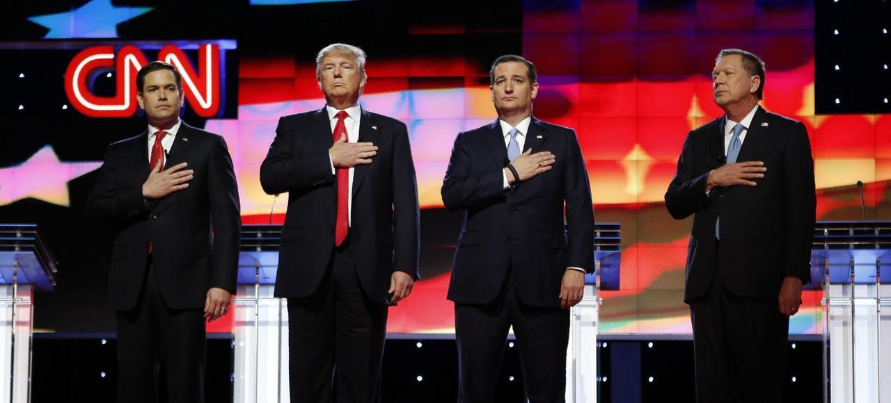 Marco Rubio, Donald Trump, Ted Cruz et John Kasich avant un débat à Miami la semaine dernière.