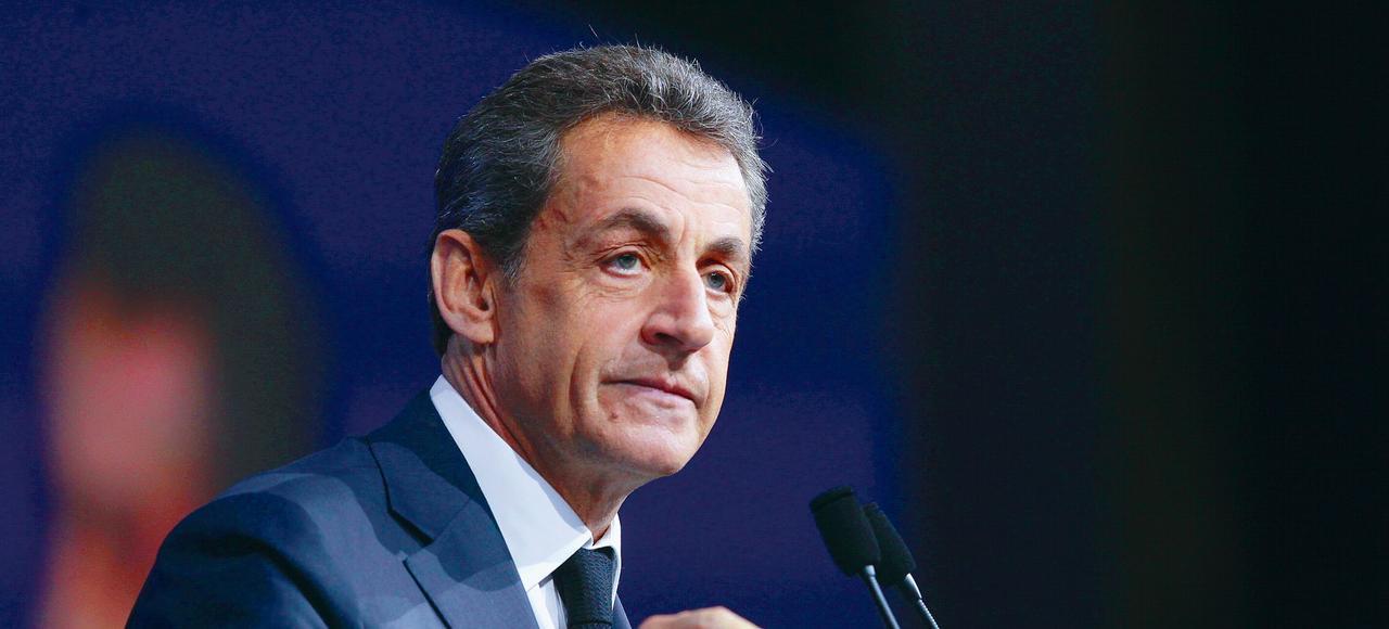 Nicolas Sarkozylors de son discours de clôturedu conseil nationaldes Républicains, en février,à Paris.