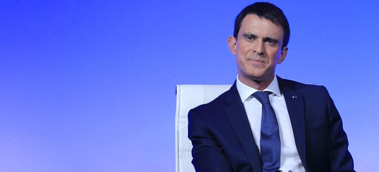 Le premier ministre, Manuel Valls, lors de la conférence de presse le 14 mars, sur le projet de Loi Travail, à l'Hôtel Matignon, à Paris.