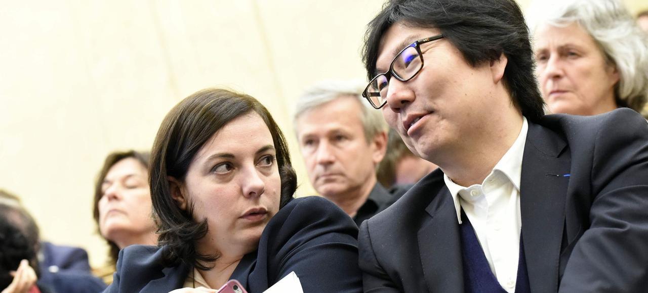 Emmanuelle Coste et Jean-Vincent Placé lors d'une réunion d'Écologistes!, samedi.