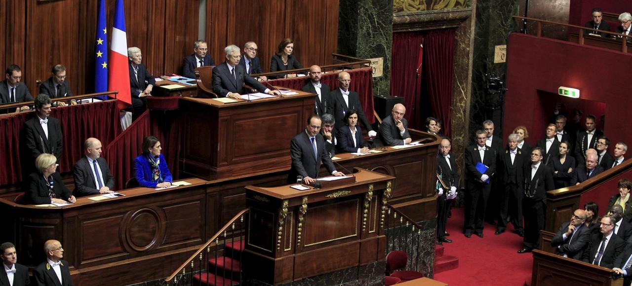 François Hollande à la tribune du Congrès à Versailles, après les attentats du 13 novembre 2015.