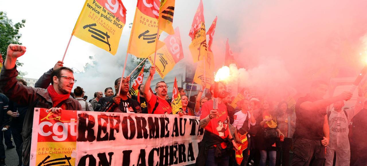 Manifestation CGT de la SNCF le 6 juin à Paris.