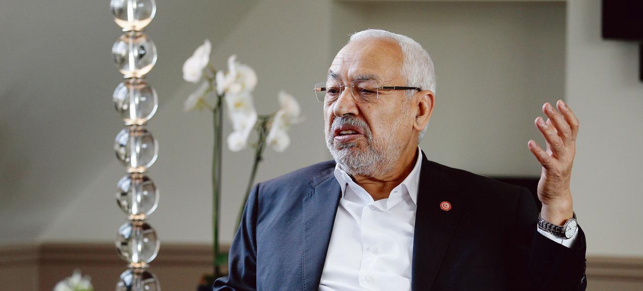 Rached Ghannouchi, président-fondateur du parti islamique Ennahda, mercredi à Paris.