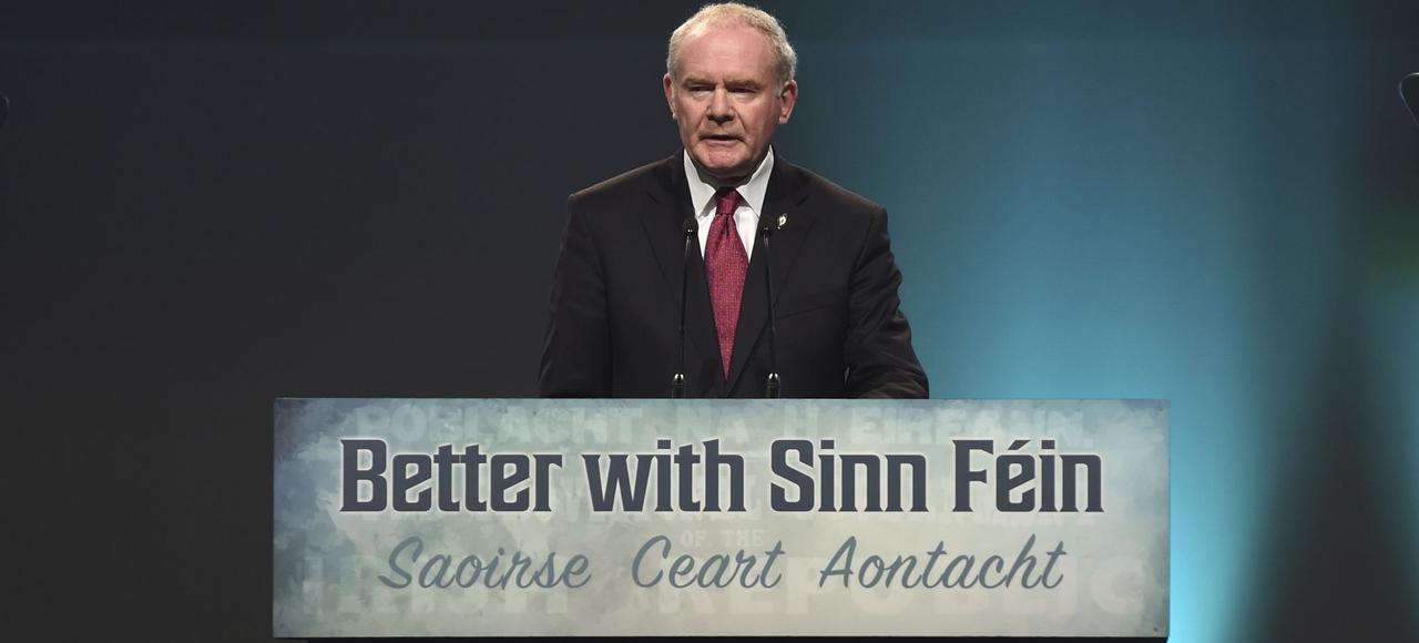 Martin McGuinness, membre du Sinn Féin et vice-premier ministre nord-irlandais, lors d'un meeting le 22avril 2016 à Dublin.