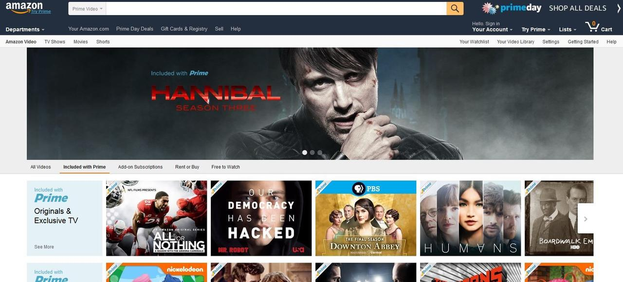 Capture du site internet d'Amazon Video.