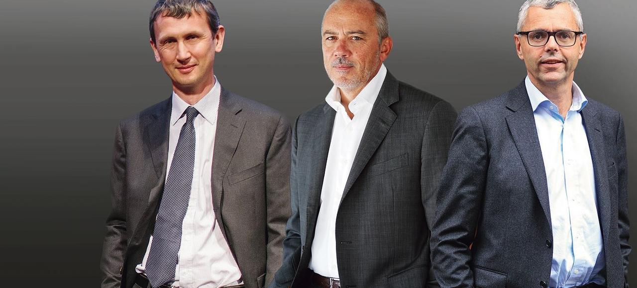 Maxime Lombardini, PDG de Free, Stéphane Richard, PDG d'Orange, et Michel Combes, PDG de SFR <i> (de gauche à droite).</i>