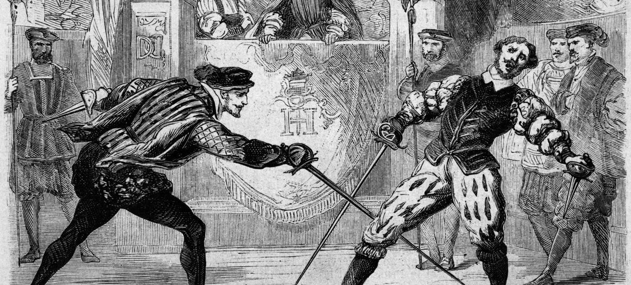 Duel entre Francois de Vivonne, seigneur de la Chataigneraie et Guy de Chabot, baron de Jarnac (g) a Saint Germain en Laye le 10 juillet 1547, gravure.
