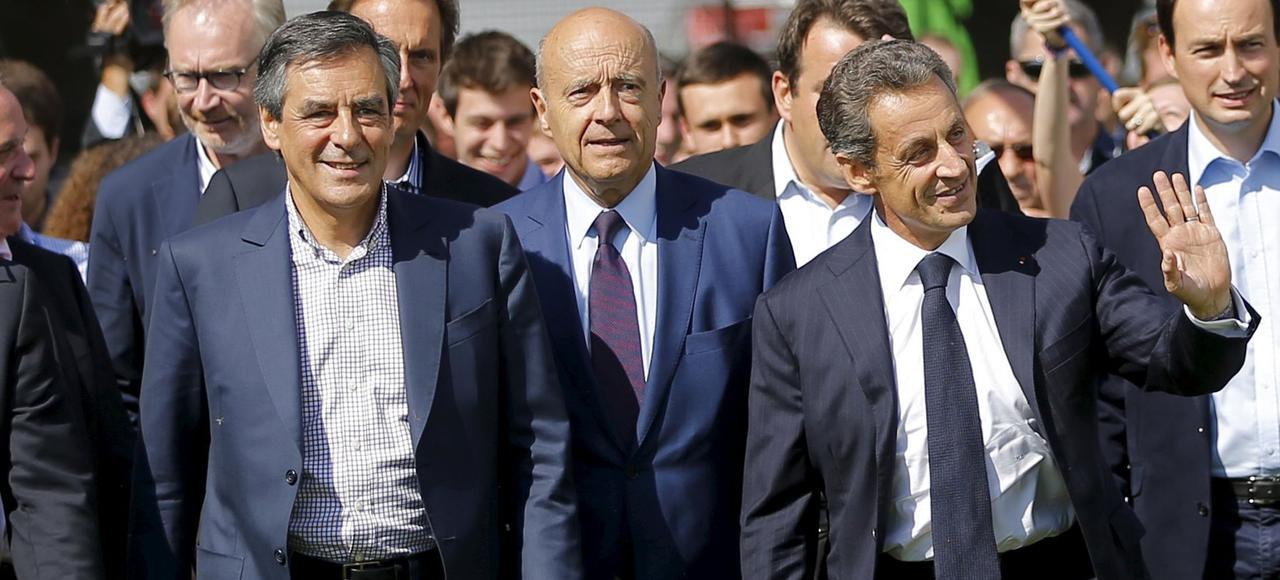 François Fillon, Alain Juppé et Nicolas Sarkozy, les candidats à la primaires. (Ici à la Baule en 2015).