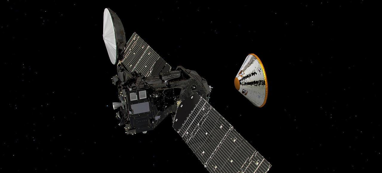 Représentation d'artiste de la sonde Trace Gas Orbiter (TGO) et du module Schiaparelli.
